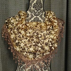 Accessories - Brown and cream floral scarf with Fringe.  NWOT